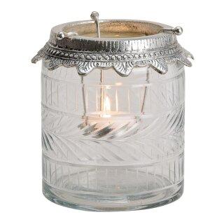 Windlicht Teelichthalter aus Glas/Metall, Größe ca : 12x13x12cm