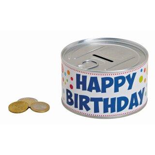 Spardose aus Metall, Happy Birthday, Größe: 10x6x10cm