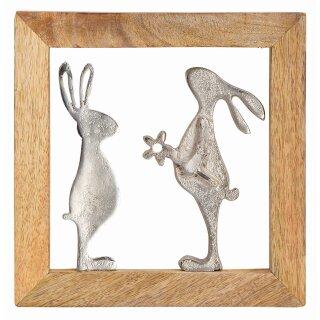 Wandhänger Hase aus Metall/Mangoholz, Gr.20x20x2cm