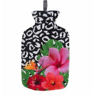 fashy Wärmflasche 2,0 ltr. Bezug schwarz-weiß/Blume bunt