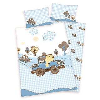 Herding Lara Kinder Renforce Bettwäsche; Bär im Auto blau, Größe: 40/60+100/135 cm