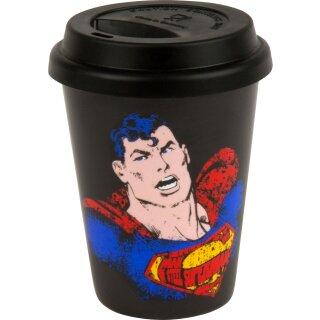 Coffe to go Mug mit Deckel Superman, Text Art