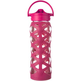 Lifefactory Glasflasche mit Axis Straw Cap, 650 ml, guave pink