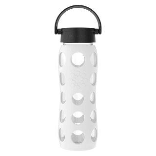 Lifefactory Glas-Trinkflasche weiß, Schraubverschluss schwarz, 650 ml