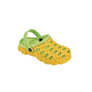 fashy Clog Sephia, Kinder Badeschuhe, Farbe gelb-hellgrün