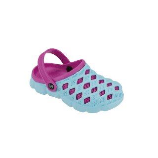 fashy Clog Sephia, Kinder Badeschuhe, Farbe: blau-pink